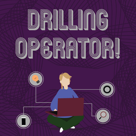 Word writing text Drilling Operator. Business photo showcasing someone that do the rigging and drilling operations Woman Sitting Crossed Legs on Floor Browsing the Laptop with Technical Icons