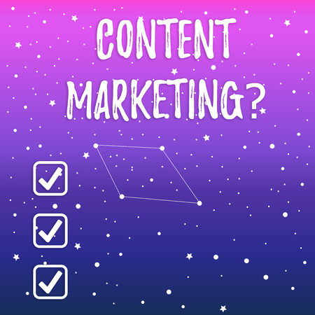 Handwriting text Content Marketing question. Conceptual photo involves creation and sharing of online material Constellation with Seamless White Stars and Dots Scattered and One Pattern