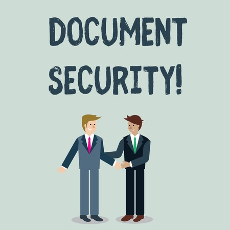 Writing note showing Document Security. Business concept for means in which important documents are filed or stored Businessmen Smiling and Greeting each other by Handshaking
