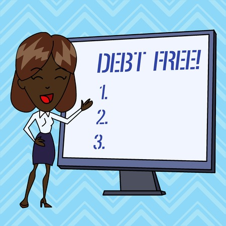 Handwriting text writing Debt Free. Conceptual photo does not owning any money or things to any individual or companies
