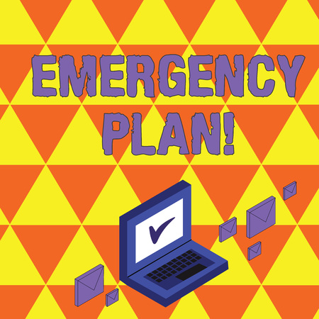 Text sign showing Emergency Plan. Business photo showcasing actions developed to mitigate damage of potential events Color Mail Envelopes around Laptop with Check Mark icon on Monitor Screen Imagens