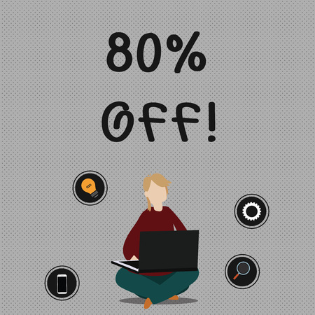 Conceptual hand writing showing 80 Percent Off. Concept meaning 80 percent reduction on the original price of a product Woman Sitting with Crossed Legs on Floor Browsing the Laptop