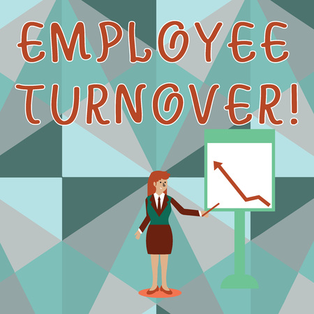 Conceptual hand writing showing Employee Turnover. Concept meaning the percentage of workers who leave an organization Woman Holding Stick Pointing to Chart of Arrow on Whiteboard
