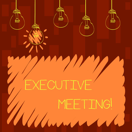 Text sign showing Executive Meeting. Business photo showcasing discuss a specific topic with boards and general members Set of Transparent Bulbs Hanging with Filament and One is in Lighted Icon Imagens - 122287219