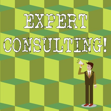 Handwriting text Expert Consulting. Conceptual photo providing of expert knowledge to a third party for a fee Businessman Looking Up, Holding and Talking on Megaphone with Volume Icon