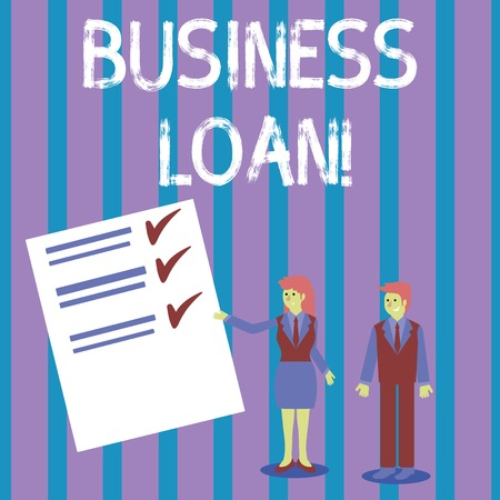 Conceptual hand writing showing Business Loan. Concept meaning Loans provided to small businesses for various purposes Man and Woman Presenting Report of Check and Lines on Paper
