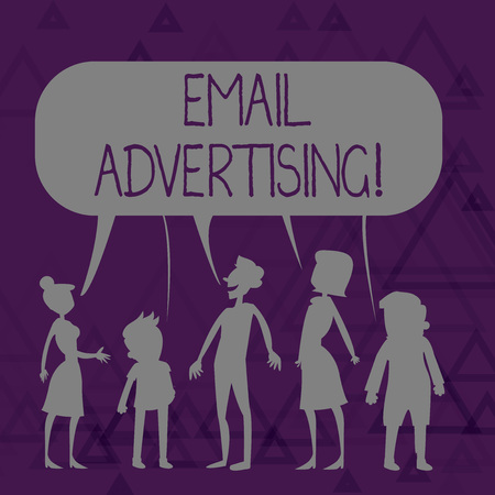 Writing note showing Email Advertising. Business concept for act of sending a commercial message to target market Figure of People Talking and Sharing Colorful Speech Bubble