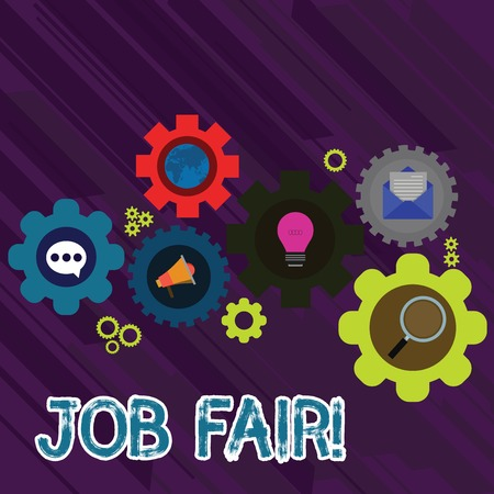 Text sign showing Job Fair. Business photo text event in which employers recruiters give information to employees Set of Global Online Social Networking Icons Inside Colorful Cog Wheel Gear