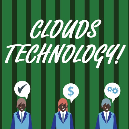 Text sign showing Clouds Technology. Business photo text resources aretrieved from the internet through webbased Businessmen Each has their Own Speech Bubble with Optimization Cost Icons