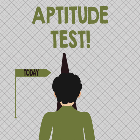 Conceptual hand writing showing Aptitude Test. Concept meaning designed to determine a demonstrating s is ability in a particular skill Man Facing Distance and Blocking the View of Straight Narrow Path