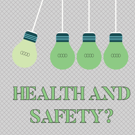 Handwriting text writing Health And Safety question. Conceptual photo regulations and procedures intended to prevent accident Color Incandescent Pendant Bulb Hanging with One Different Shade Lightbulb Reklamní fotografie