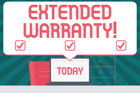 Handwriting text writing Extended Warranty. Conceptual photo contract which gives a prolonged warranty to consumers Blank Huge Speech Bubble Pointing to White Laptop Screen in Workspace Idea Banco de Imagens