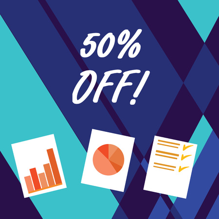 Handwriting text writing 50 Percent Off. Conceptual photo 50 percent reduction on the original price of a product Presentation of Bar, Data and Pie Chart Diagram Graph Each on White Paper Stock fotó