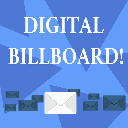 Writing note showing Digital Billboard. Business concept for billboard that displays digital images for advertising Color Envelopes in Different Sizes with Big one in Middle