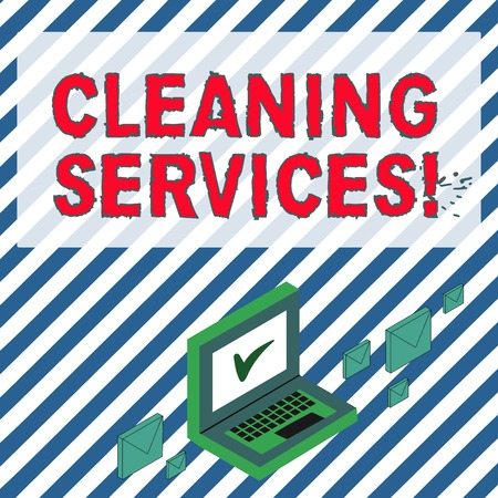 Word writing text Cleaning Services. Business photo showcasing perform a variety of cleaning and maintenance duties Color Mail Envelopes around Laptop with Check Mark icon on Monitor Screen