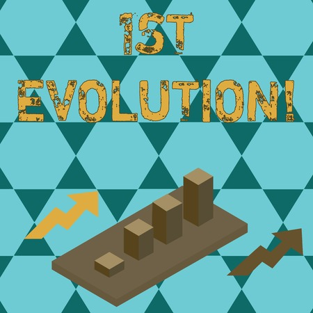Text sign showing 1St Evolution. Business photo text Change in the genetic features of biological populations Colorful Clustered 3D Bar Chart Graph Diagram in Perspective with Two Arrows Stock Photo