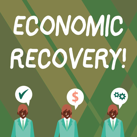 Word writing text Economic Recovery. Business photo showcasing rise of business activity signaling the end of a recession Businessmen Each has their Own Speech Bubble with Optimization Cost Icons