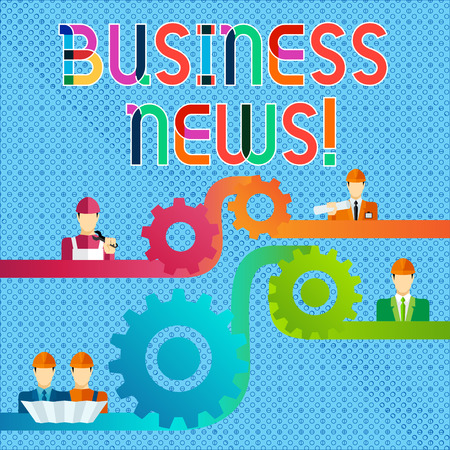Handwriting text Business News. Conceptual photo information reported in a newspaper or news magazine Cog Gear Setting Icon Connecting Men from Different Professional Character