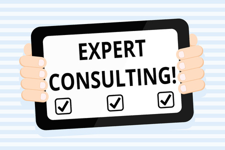Writing note showing Expert Consulting. Business concept for providing of expert knowledge to a third party for a fee Color Tablet Smartphone with Screen Handheld Back of Gadget