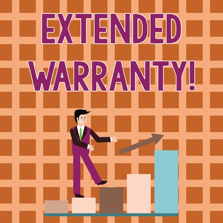 Word writing text Extended Warranty. Business photo showcasing contract which gives a prolonged warranty to consumers Smiling Businessman Climbing Bar Chart Following an Arrow Going Up