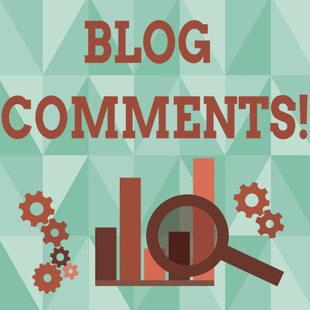 Word writing text Blog Comments. Business photo showcasing Space at the end of each post for a reader to leave a comment Magnifying Glass Over Bar Column Chart beside Cog Wheel Gears for Analysis