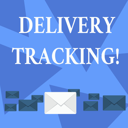Writing note showing Delivery Tracking. Business concept for the process of localizing shipping containers and mails Color Envelopes in Different Sizes with Big one in Middle