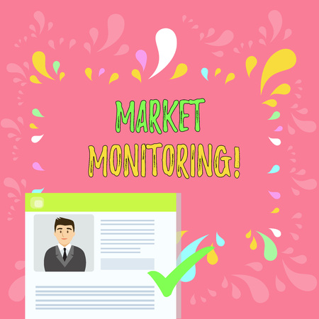 Word writing text Market Monitoring. Business photo showcasing supervising activities in progress in the trading center