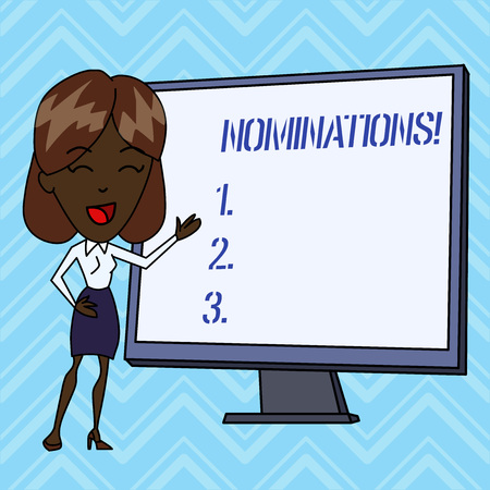 Handwriting text writing Nominations. Conceptual photo action of nominating or state being nominated for prize