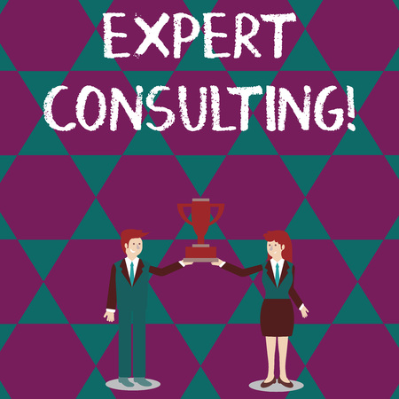 Text sign showing Expert Consulting. Business photo text providing of expert knowledge to a third party for a fee Man and Woman in Business Suit Holding Together the Championship Trophy Cup