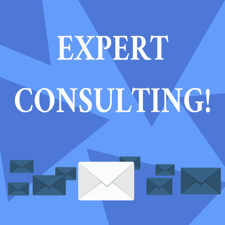 Writing note showing Expert Consulting. Business concept for providing of expert knowledge to a third party for a fee Color Envelopes in Different Sizes with Big one in Middle