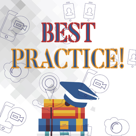 Text sign showing Best Practice. Business photo showcasing commercial or professional procedures that are accepted Graduation Cap with Tassel Resting on Top of Stack of Thick Books Banco de Imagens