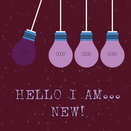Text sign showing Hello I Am New. Business photo text used as greeting or to begin telephone conversation Color Incandescent Pendant Bulb Hanging with One Different Shade Lightbulb Imagens