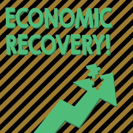 Conceptual hand writing showing Economic Recovery. Concept meaning rise of business activity signaling the end of a recession Arrow Pointing Up with Detached Part Jigsaw Puzzle Piece