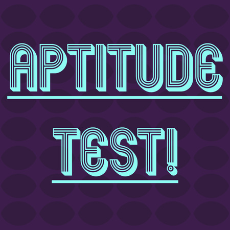 Text sign showing Aptitude Test. Business photo text designed to determine a demonstrating s is ability in a particular skill Oval Geometric Shape in Rows and Columns in Violet Monochrome Round Pattern