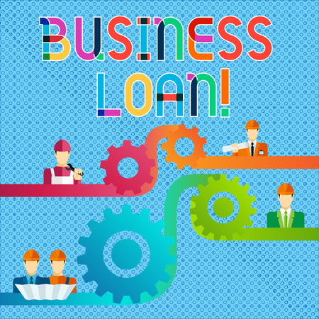 Handwriting text Business Loan. Conceptual photo Loans provided to small businesses for various purposes Cog Gear Setting Icon Connecting Men from Different Professional Character