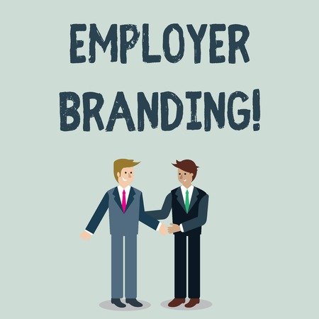 Writing note showing Employer Branding. Business concept for process of articulating your company s is unique message Businessmen Smiling and Greeting each other by Handshaking
