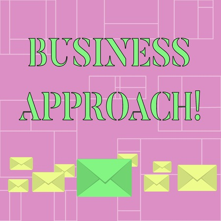 Conceptual hand writing showing Business Approach. Concept meaning long term plan of action designed to achieve a target goal Color Envelopes in Different Sizes with Big one in Middle