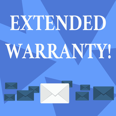 Writing note showing Extended Warranty. Business concept for contract which gives a prolonged warranty to consumers Color Envelopes in Different Sizes with Big one in Middle
