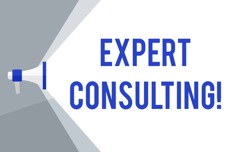 Writing note showing Expert Consulting. Business concept for providing of expert knowledge to a third party for a fee Megaphone Extending the Volume Range through Space Wide Beam