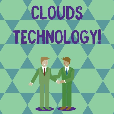 Handwriting text Clouds Technology. Conceptual photo resources aretrieved from the internet through webbased Two Businessmen Standing, Smiling and Greeting each other by Handshaking Reklamní fotografie