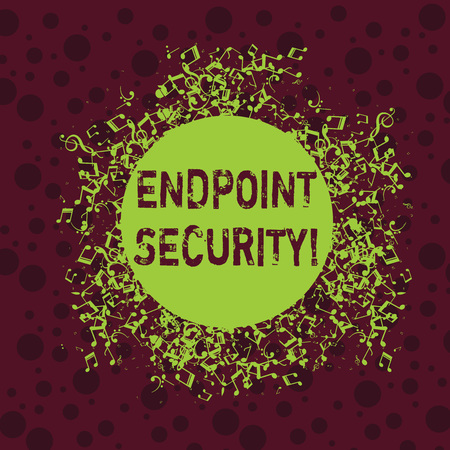 Word writing text Endpoint Security. Business photo showcasing the methodology of protecting the corporate network Disarrayed and Jumbled Musical Notes Icon Surrounding Blank Colorful Circle
