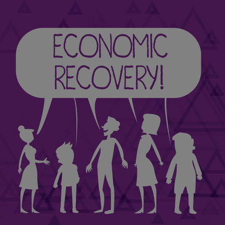 Writing note showing Economic Recovery. Business concept for rise of business activity signaling the end of a recession Figure of People Talking and Sharing Colorful Speech Bubble Stock fotó