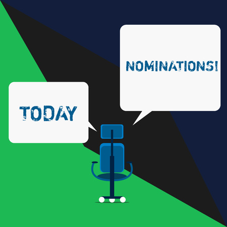 Text sign showing Nominations. Business photo text action of nominating or state being nominated for prize