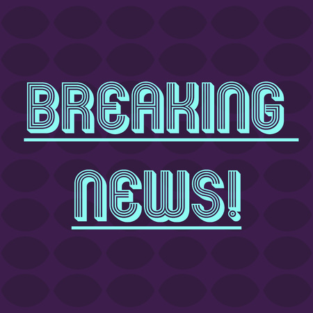 Text sign showing Breaking News. Business photo text Newly received info about an event and currently occurring Oval Geometric Shape in Rows and Columns in Violet Monochrome Round Pattern