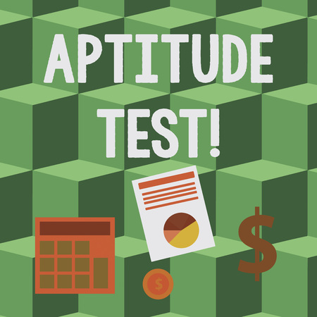 Handwriting text Aptitude Test. Conceptual photo designed to determine a demonstrating s is ability in a particular skill Computing Dollar Investment in Gold and Presenting Data thru Pie Chart Graph