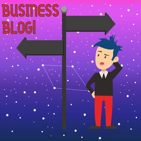 Conceptual hand writing showing Business Blog. Concept meaning Devoted to write about subject matter related to the company Man Confused with Road Sign Pointing to Opposite Direction