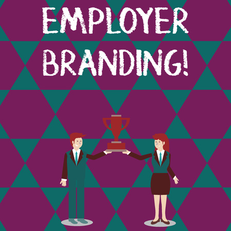 Text sign showing Employer Branding. Business photo text process of articulating your company s is unique message Man and Woman in Business Suit Holding Together the Championship Trophy Cup Reklamní fotografie