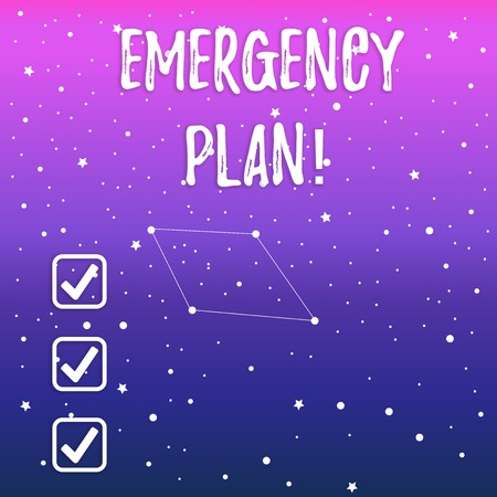 Handwriting text Emergency Plan. Conceptual photo actions developed to mitigate damage of potential events Constellation with Seamless White Stars and Dots Scattered and One Pattern