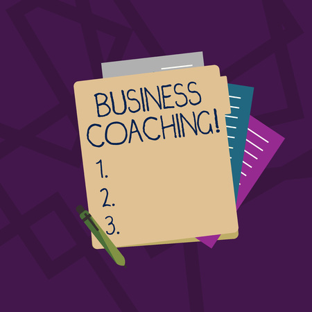 Handwriting text Business Coaching. Conceptual photo providing support and occasional advice to an individual Colorful Lined Paper Stationery Partly into View from Pastel Blank Folder