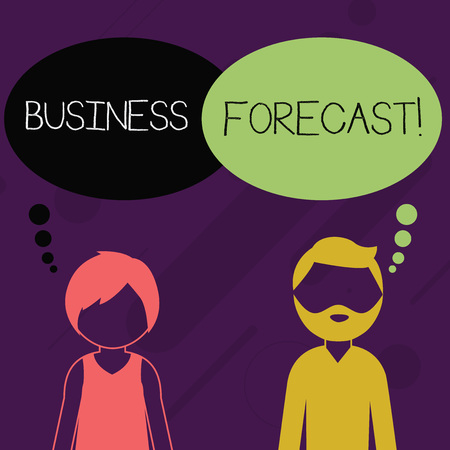 Word writing text Business Forecast. Business photo showcasing estimate or prediction of future developments in business Bearded Man and Woman Faceless Profile with Blank Colorful Thought Bubble 免版税图像